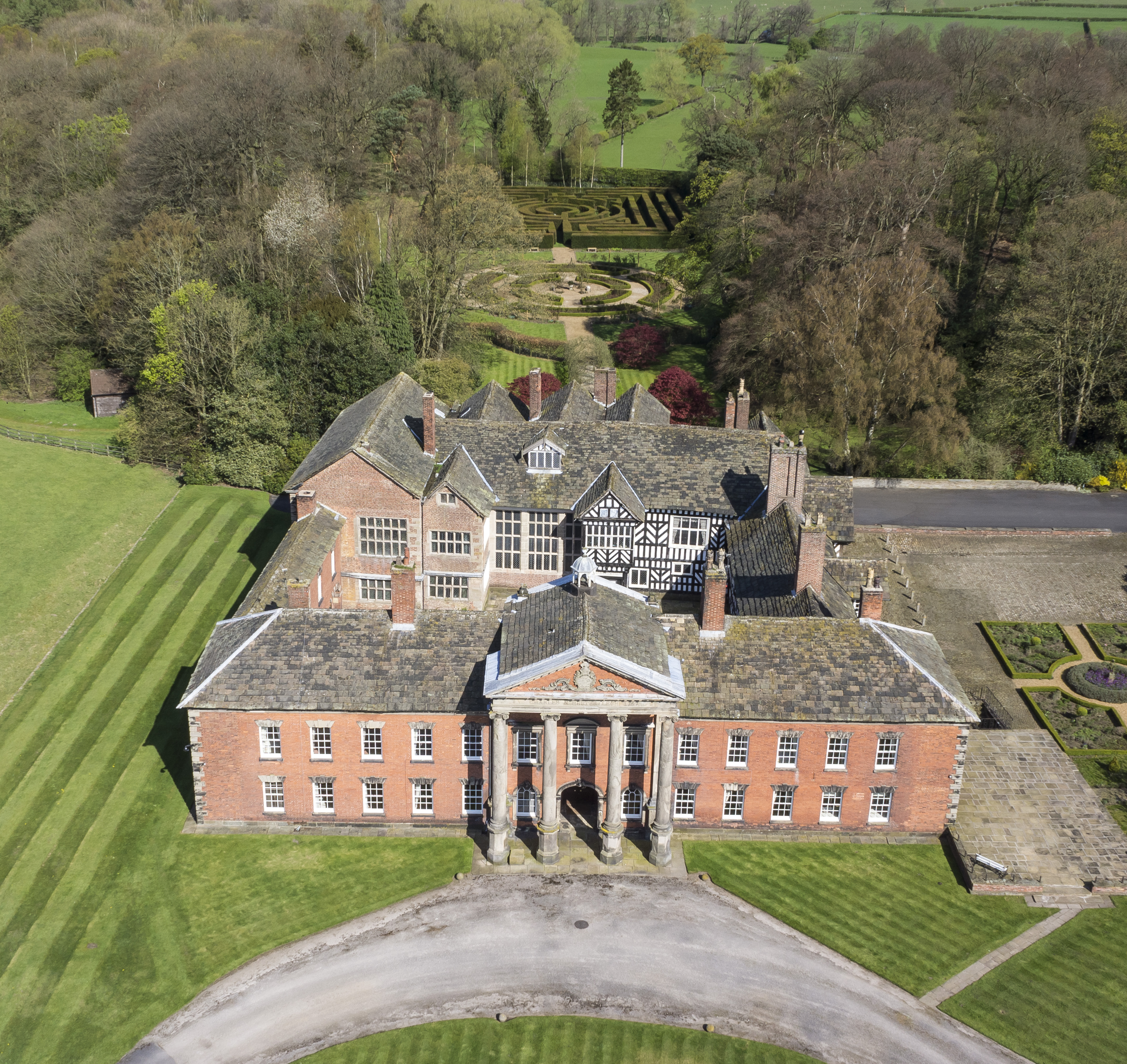 Aerial footage of Adlington Hall.