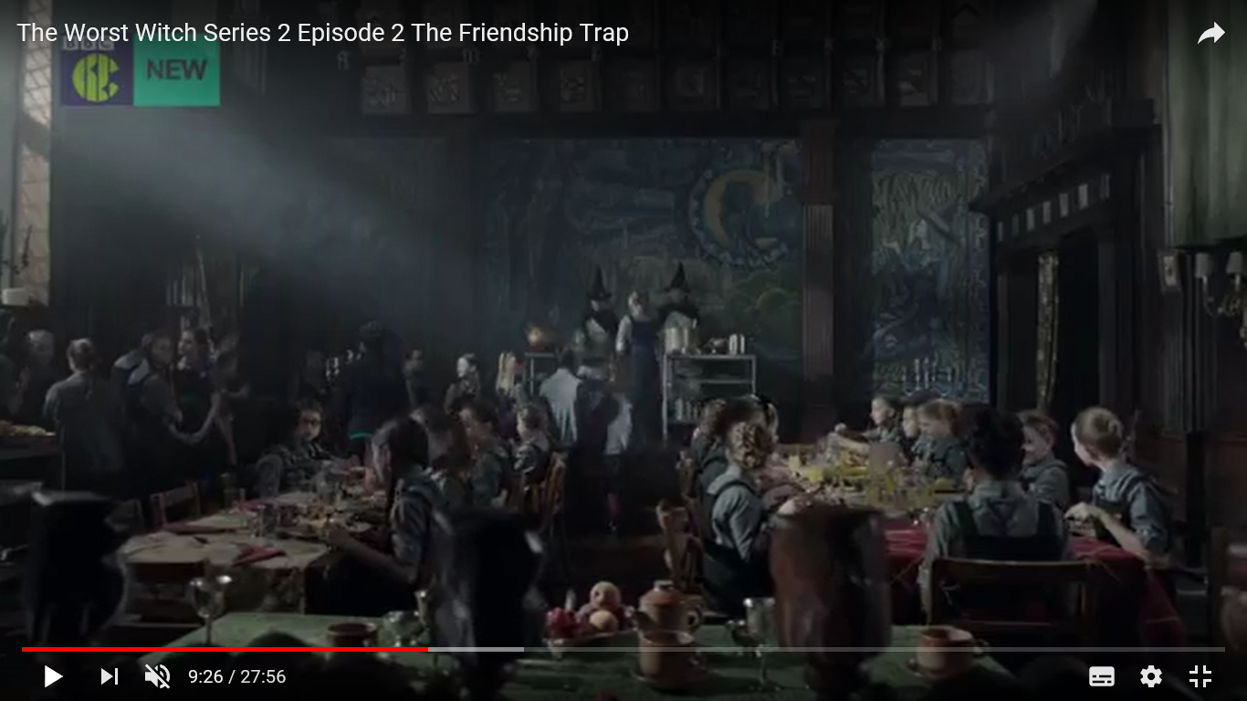 Episode 2 The Worst Witch - Screen shot taken from You Tube, filmed inside the Great Hall of Adlington Hall