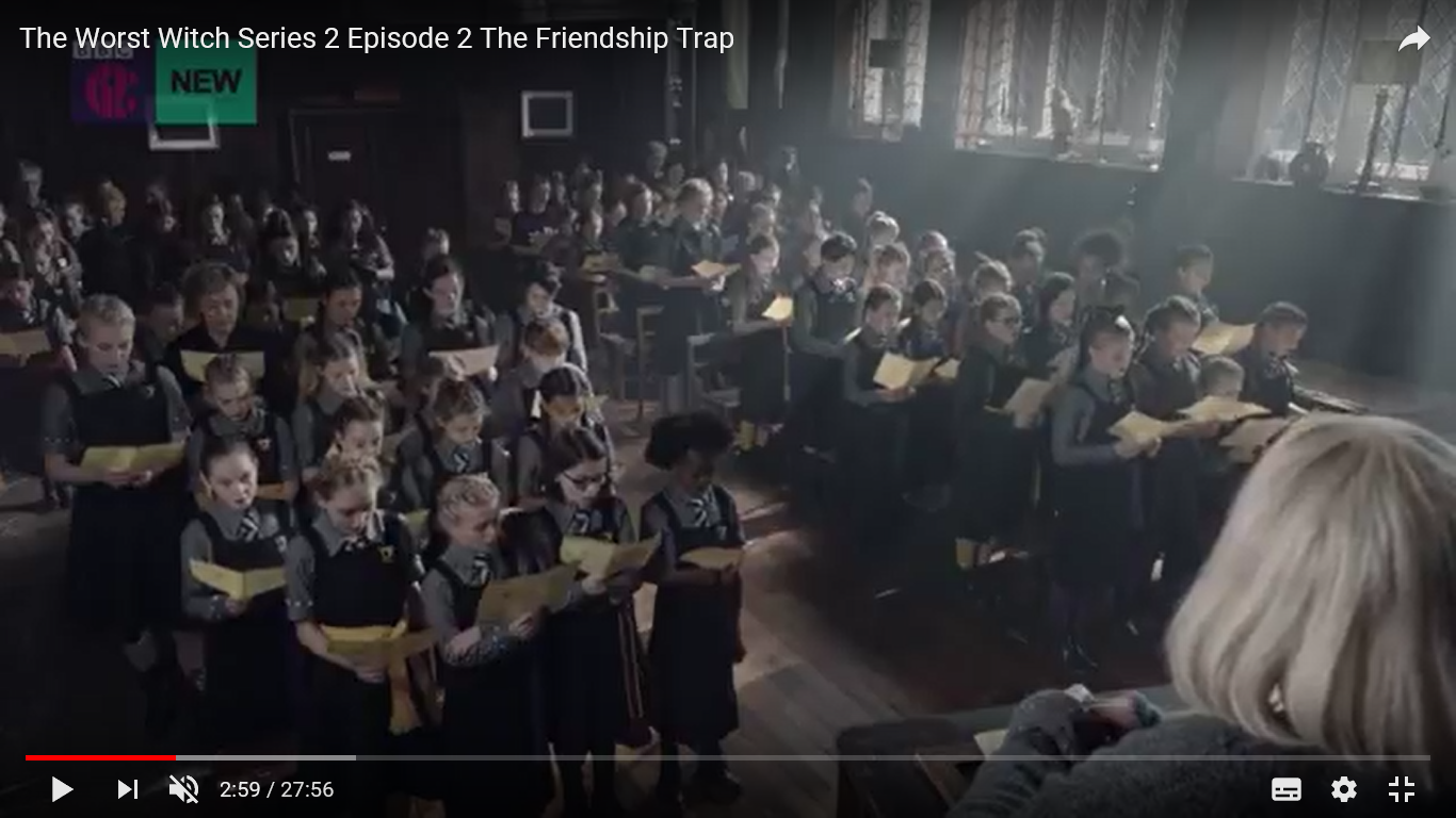 Episode 2 The Worst Witch - Screen shot taken from You Tube, filmed in the Great Hall of Adlington Hall.