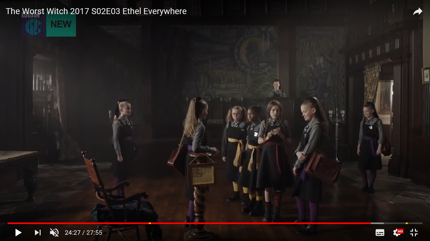 Episode 3 The Worst Witch - Screen shot taken from You Tube, filmed inside the Great Hall of Adlington Hall